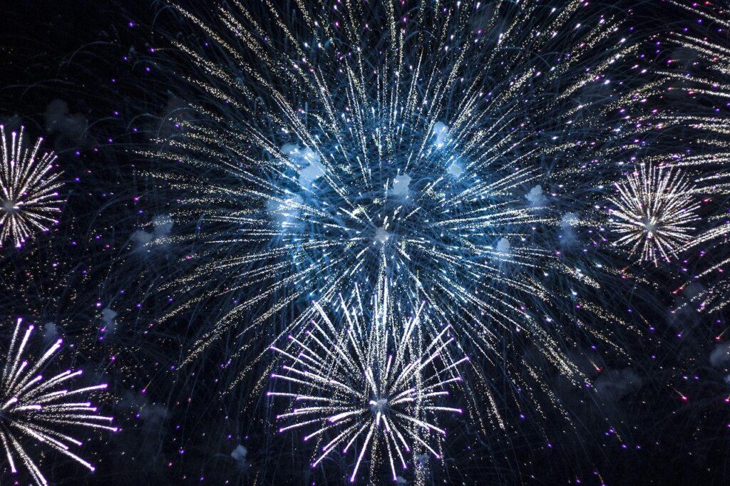 fireworks, bright, night